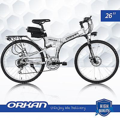 "26"" Foldable E-Bike Electric Folding Bicycle Mountain Bike 7 Speed 36V 250W"