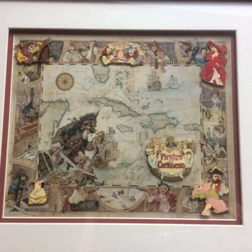 Disney DLR - Pirates of the Caribbean - Attraction Scene - 6 Pin Framed Set