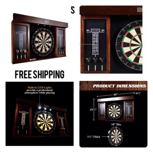 """New, 40"""" Dartboard Cabinet Set, LED Lights, Steel Tip Darts, Brown & Black"""