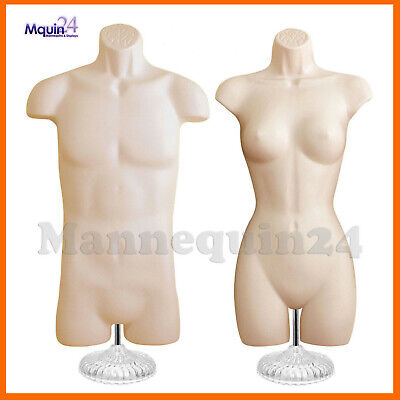 Male Female Mannequin Torso Set - 2 Flesh Body Forms With 2 Stands 2 Hangers