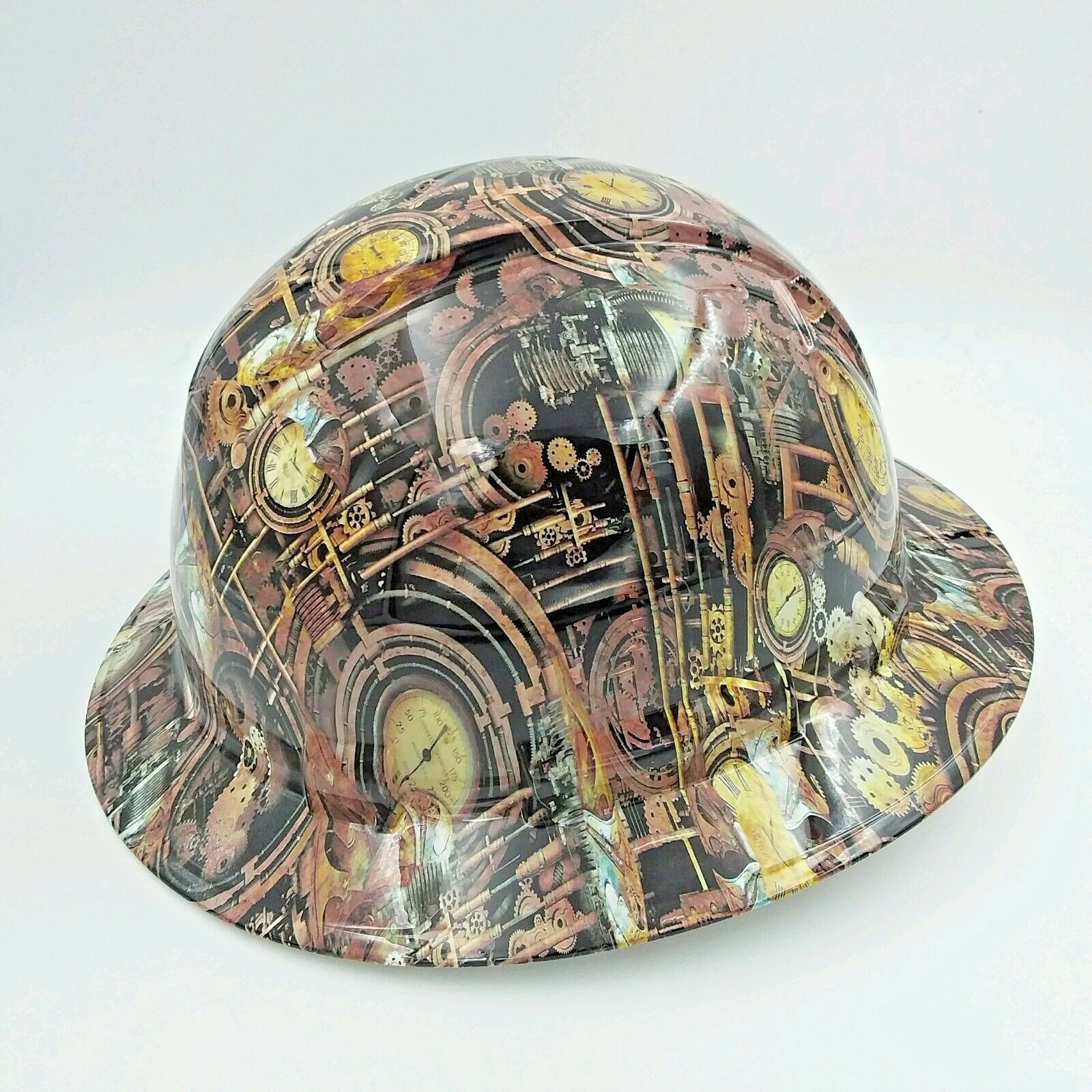 FULL BRIM Hard Hat custom hydro dipped , STEAM PUNK ,ENGINEERING CAMO 1