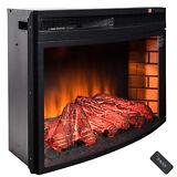 "35"" Black Freestanding Insert 22 Setting Log Electric Fireplace Heater w/ Remote"
