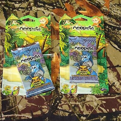 Lot of 2 Neopets Mystery Island 8-Card Sealed Booster Pack Rare Wizards Bundle