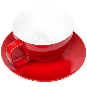 Set of 2 Large 15oz Cappuccino Cups & Saucers Bright Tea Coffee Machine Mugs