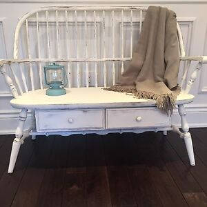 Shabby Chic Rustic  Hall Entryway Deacons Bench made by Roxton