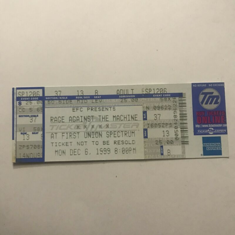 Rage Against The Machine First Union Spectrum Concert Ticket Stub Vintage 1999