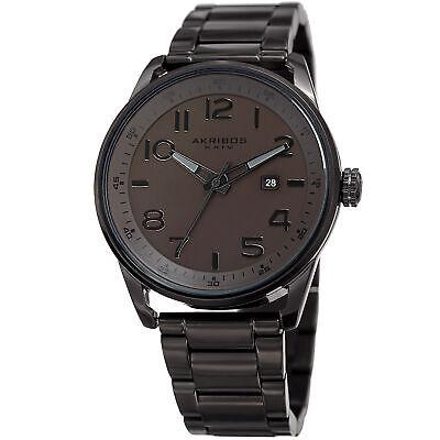 Men's Akribos XXIV AK956BR Black Ion Plated Polished Steel Bracelet Date Watch