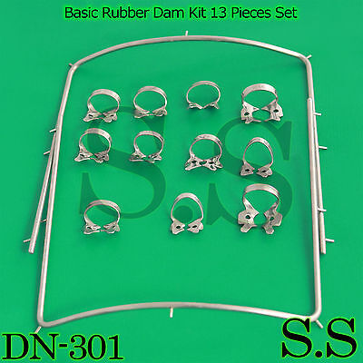 Basic Rubber Dam Kit 13 Pieces Set Dental Surgical Instruments Dn-301