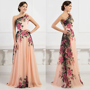 CHINESE Style Retro Vintage Flower Long Evening Party Prom Ball Gown Maxi Dress