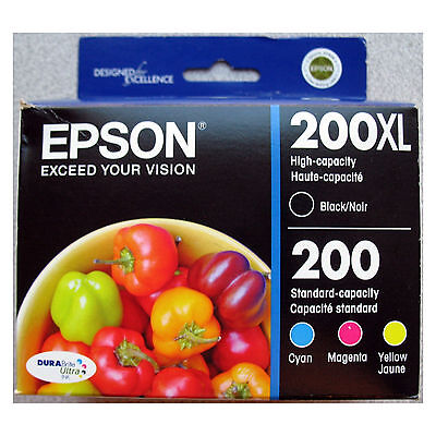 4-PACK Epson GENUINE 200XL Black & 200 Color Ink (RETAIL BOX) for WORKFORCE 2520