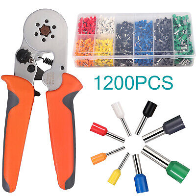 Ferrule Crimper Crimping Plier Tool Kit 1200x Wire Terminal Connector 0.25-6mm