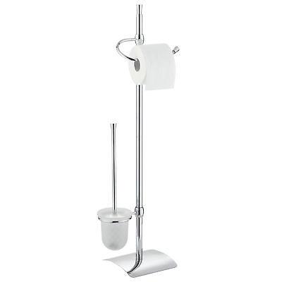 Chrom Wc Papier Halter (Wenko WC Stand-Garnitur Set Toiletten Papier Ständer + Klo Bürsten Halter Chrom)