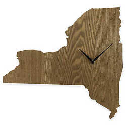 New York State Shaped Wood Grain Wall Clock Collection