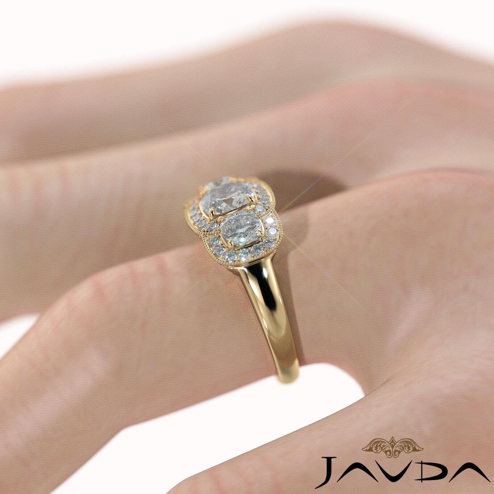 2.25ctw Milgrain Halo 3 Stone Cushion Diamond Engagement Ring GIA I-SI1 W Gold 11