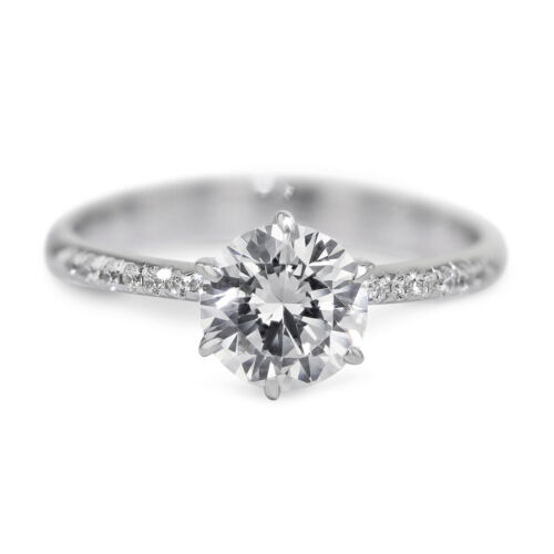 GIA CERTIFIED 1.15 Carat Round Cut F - VS1 Side Stone Diamond Engagement Ring