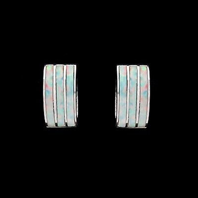 Opal Huggie Earrings Solid 14K White Gold Multi-Color Triple Inlay