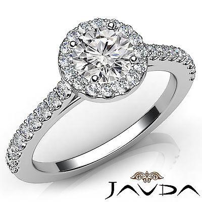 French U Pave Set Halo Round Diamond Engagement Wedding Ring GIA F VVS2 1.21 Ct