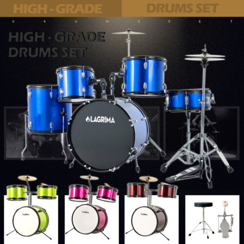 3/5 Piece Complete Adult/Junior Drum Set Cymbals Child Kids