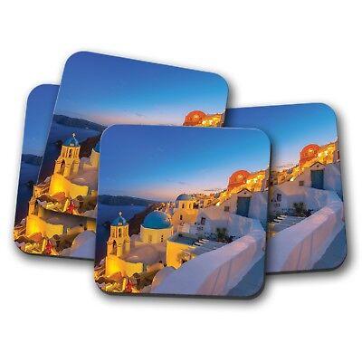 4 Set - Beautiful Santorini Coaster - Greece Greek Island Travel Fun Gift #8648