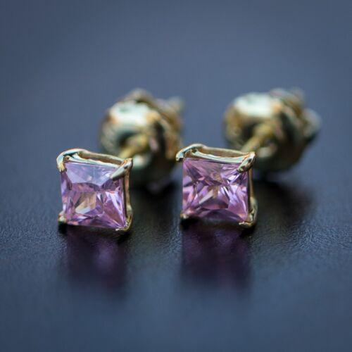 Small 14k Gold Womens Pink Diamond Princess Cut Iced Stud Screw Back Earrings