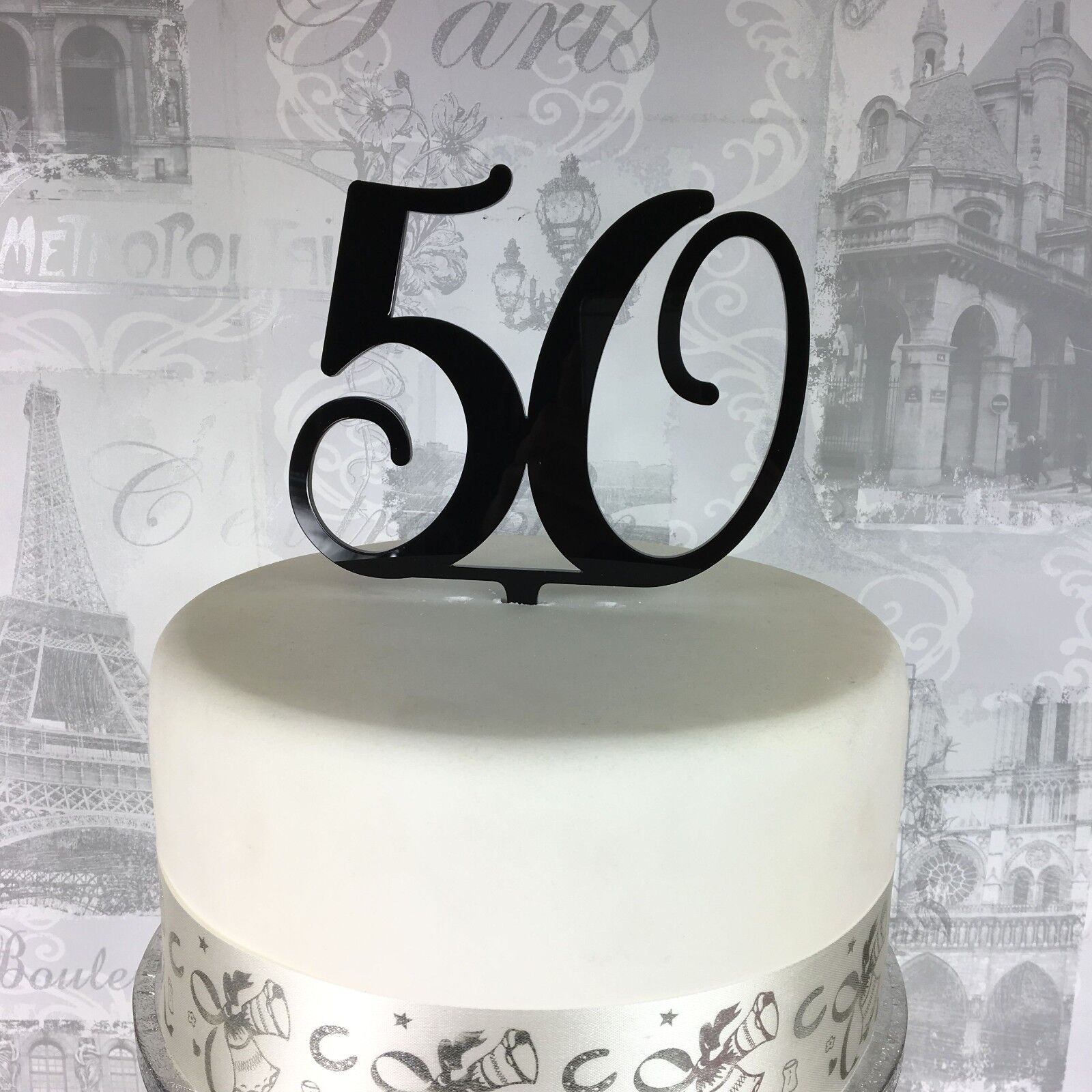 60th Birthday Cake Topper Any Number Several Glitter Colours available.
