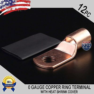 12 Pcs 10 Awg 0 Ga Copper Ring Terminal Heat Shrin 38 Hole Lug Connector Us