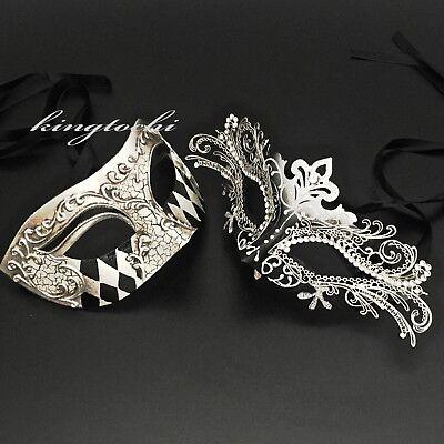 Couple Black/Silver Masquerade Ball Pair Eye Mask Wedding New Year Ball Party](Masquerade New Years Party)