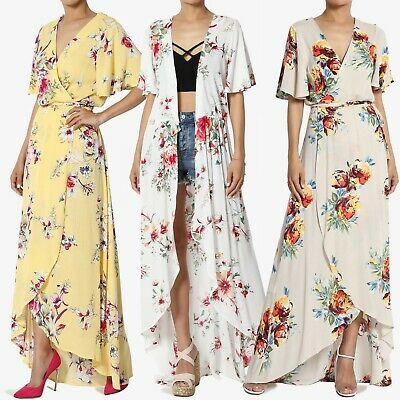 TheMogan Floral Print Flutter Sleeve Wrap Maxi Dress Cover Up Duster - Flutter Sleeve Cardigan