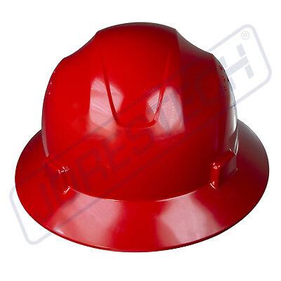 Red Hard Hat Full Brim Jorestech 4 Point Ratchet Suspension Construction Ansi