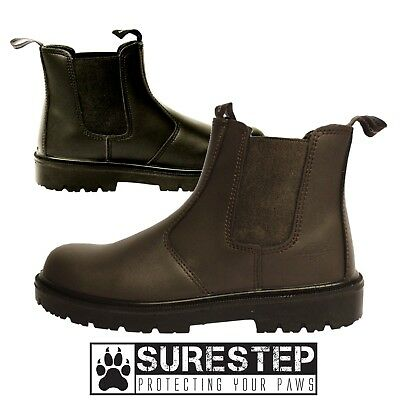 Black or Brown Leather Steel Toe Slip on Dealer Safety Work Boot |3-13| Brown Steel Toe Slip