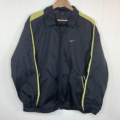 VINTAGE NIKE Track Jacket Windbreaker Mens M Yellow Black Full Zip Light Weight