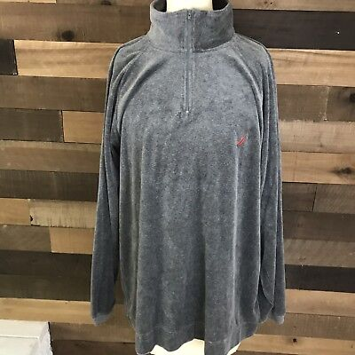 Nautica Gray Half Zip Pullover Soft Velvet Sweater Size L Large Sailing