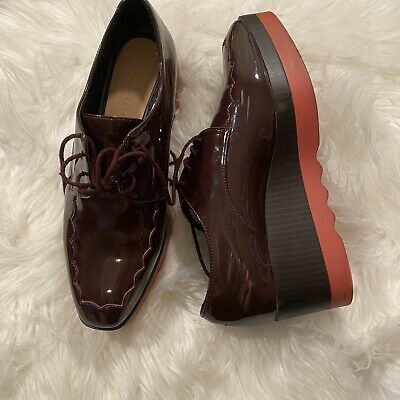 Zara Trafaluc Women's Burgundy 37 Platform Oxford Derby Shoes Lace Up for sale  Shipping to Nigeria