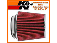 """FOR K/&N 3/"""" to 4/"""" Round Tapered Universal Air Intake Cone Filter Chrome SUV//Truck"""