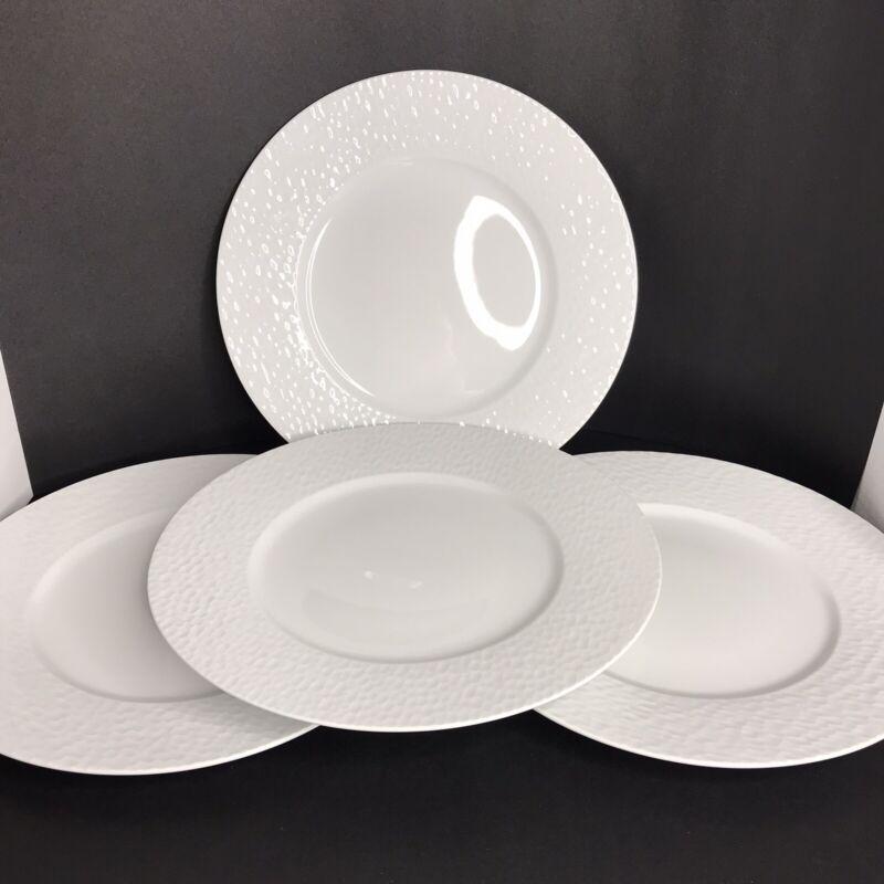 Apilco White Aqua Pattern Dinner Plates Set Of 4 Wide Rim Honeycomb France
