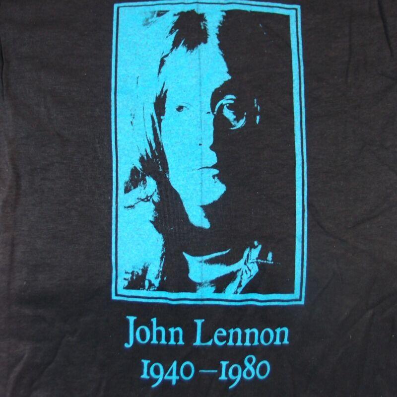 JOHN LENNON: Vintage 1940-1980 T-Shirt 80s Deadstock w/ Stain Beatles Small