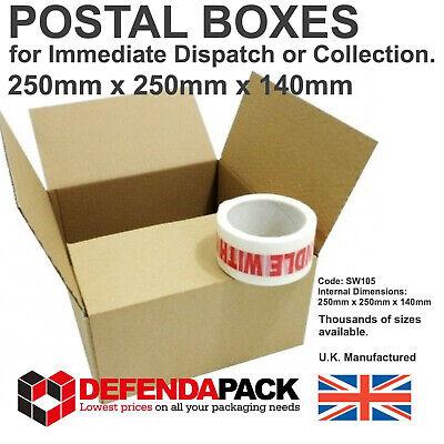 10 Cardboard POST BOX Corrugated POSTAL SHIPPING BOXES 250x250x140mm SW105