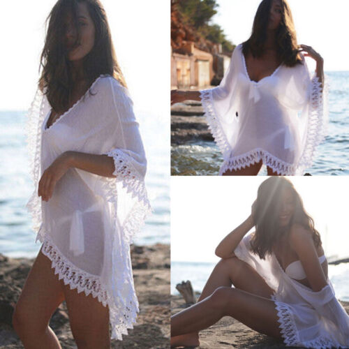 Damen Bademode Bikini Cover Up Top Kimono Strand Bluse Minikleid Tee Shirt Boho