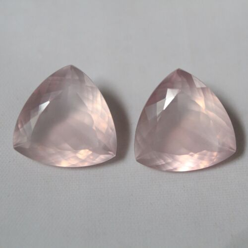 Natural Rose Quartz AAA Quality Trillion Shape Faceted Loose Stone Pair #330