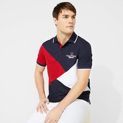 Nautica Mens Classic Fit Diagonal Colorblock Polo