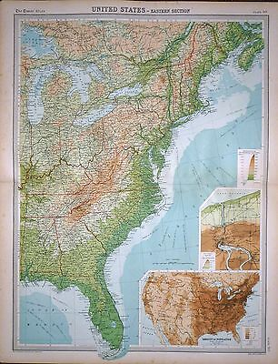 1920 LARGE MAP ~ UNITED STATES ~ EASTERN SECTION ~ NIAGRA FALLS  23