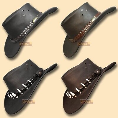■oZtrALa■ Oil Leather Hat CROCODILE Band Mens Women Outback DUNDEE Cowboy AUSSIE (Crocodile Cowboy Hat)