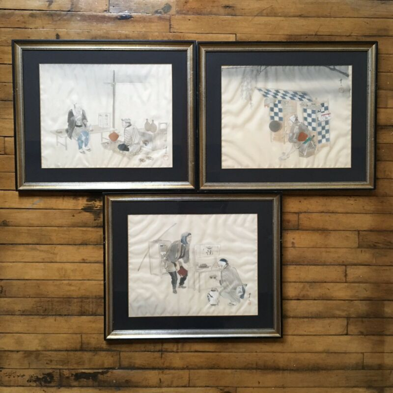 3 of Set VTG Antique Japanese stalls Silk Watercolor Signed Painting / Framed