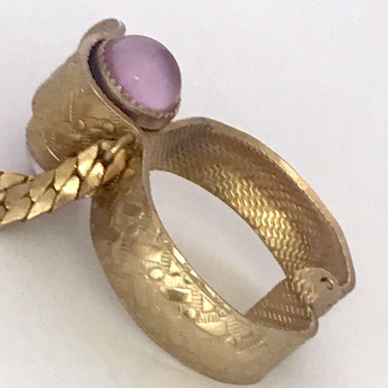 Vintage Textured Glove Scarf Purse Clip Hanky Holder Gold Plated Shur-Lock Pink