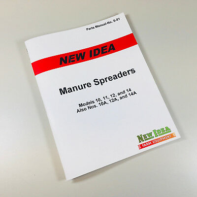 New Idea 10 11 12 14 10a 12a 14a Manure Spreader Parts Manual Catalog