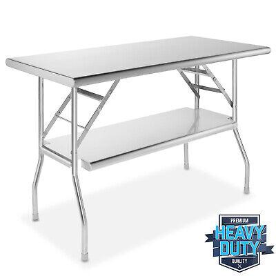 Open Box - Stainless Steel Folding Commercial Prep Table W Undershelf 48 X 24