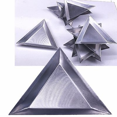 10 Pc Aluminum Triangle Trays Gemstones Beads Display Sorting Parts 3 14x14