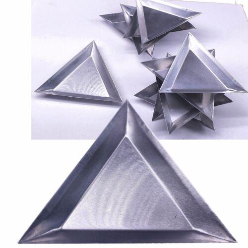 "10 pc Aluminum Triangle Trays Gemstones Beads Display Sorting Parts 3 1/4""x1/4"""