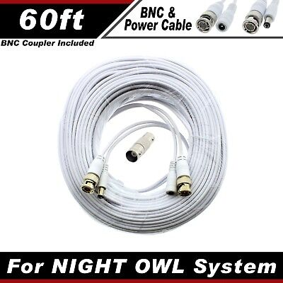 PREMIUM 60Ft HIGH QUALITY THICK BNC EXTENSION CABLES FOR NIGHT OWL SYSTEMS WITHE