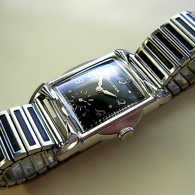 Vintage 1959 Bulova Men's Watch - 11 AF - Cool Band - Black Dial